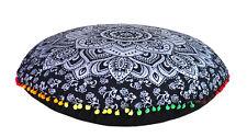 "28"" Black Silver Mandala Round Floor Pillow Cushion Cover Room Decorative Throw"