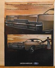 Vintage 1969 magazine ad for Lincoln Marquis - 2 door Brougham, Dramatic styling