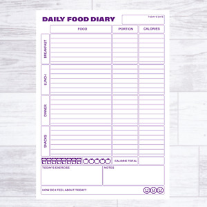 A5 CALORIE COUNTING FOOD DIARY DIET SLIMMING JOURNAL PAGE PLANNER WEIGHT LOSS