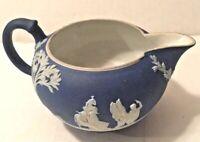 Rare Wedgwood Jasperware Dark Cobalt Blue Tea Creamer Pitcher England 1890