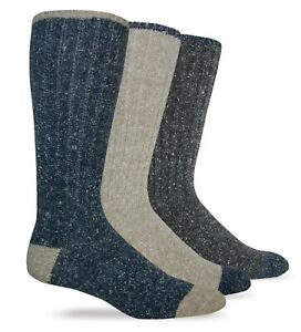 Wise Blend Mens Warm Merino Wool Rib Boot Socks Casual Mid Calf Socks 2 Pair