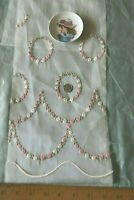 """Antique Vintage c1920s Tiny Swiss Cotton Rose Embroidery Sample~43.5""""X7.5""""~Dolls"""