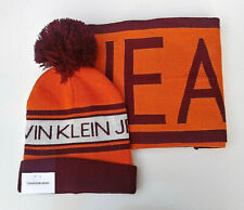 Calvin Klein Winter Hat & Scarf Set- Orange & Burgundy- Authentic-NWT