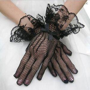 Women Fishnet Mesh Short Gloves Black Lace Bridal Evening Party Goth Burlesque