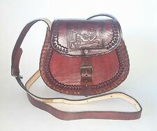 Authentic Traditional  Leather  Mexican Hand Tooled Reddish Brown Purse
