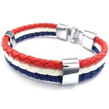 Jewelry bracelet, France French flag bracelet, for men's and ladies' leather, SR