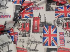 london landmarks theme linen fabric DIY thick textured linen sold By per0.5meter