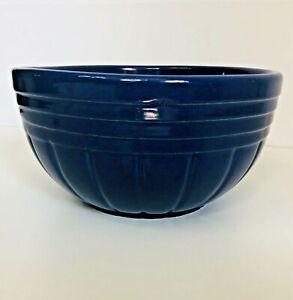 "R.R.P. 8"" Blue Mixing Bowl 168 Ribbed Roseville Vintage Robinson Ransbottom USA"