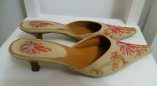 womens beige pointed toe high heel sandals size 6 39 floral canvas shoes