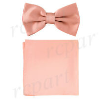 New formal men's pre tied Bow tie & Pocket Square Hankie solid Mauve Dusty Pink