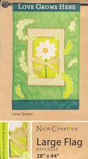 New Creative Applique Garden Flag Love Grows Here 28 X 44 New!