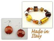 Authentic Italian Made Venetian Murano Glass Jewelry Set: Bracelet & Earrings