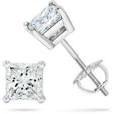 1 ct. White Sapphire Princess Screw Back Stud Earrings - 14k White gold/Silver