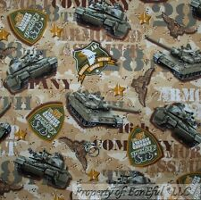 BonEful Fabric FQ Cotton Quilt Brown Green Camo Military Army US Tank Truck Army