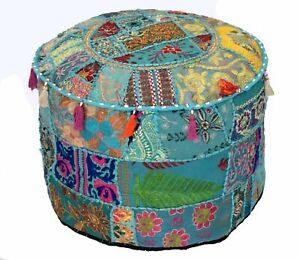 """22"""" Indian Ottoman Pouffe Cover Embroidered Patchwork Cotton Footstool Beanbag"""