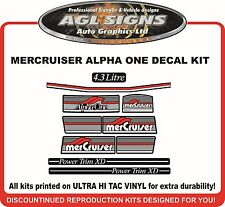 Mercury Alpha one Outdrive  10 Piece Decal Kit   Mercruiser 4.3 Litre