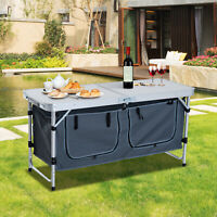 Outsunny Picnic Table Camping Folding Portable Dining Storage Garden Outdoor