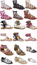 Girls Roman Gladiator Flat Sandals Baby Kids Summer Beach Shoes Size 4.5-3 N6171
