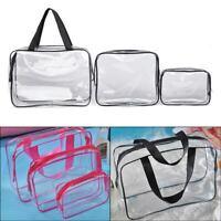 3Pcs Travel Makeup Cosmetic Clear Bag Case Toiletry Bathing Organizer Waterproof