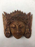 'Beautiful Sita' Mask Wood Sculpture Hindu Wall Art Hand Carved