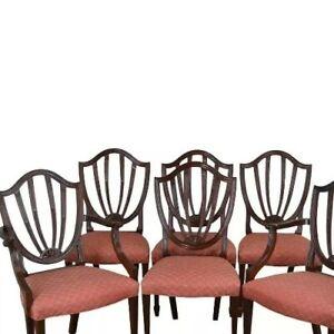 Baker Historic Charleston Collection Set 4 Mahogany Shield Back Dining Chairs