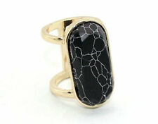 Women's Gold Plated Oval White/Blue/Black Turquoise Cocktail Band Ring