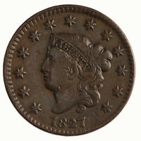 Raw 1827 Coronet Head 1C N-5 Circulated Copper Large Cent Coin