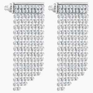 SWAROVSKI FIT FIT PIERCED EARRINGS WHITE PALLADIUM PLATED NEW IN BOX 5289716 NWT