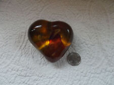 Vintage KOSTA BODA Amber/Red Biomorphic Heart Paperweight by Beril  Vallien