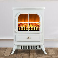 Portable White Electric Fireplace Freestanding Stove Heater Realistic Flame Logs