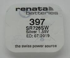 Véritable nouveau 1 x 397 RENATA Montre Batterie (argent 1.55 V SR726SW) -07/2019 EXP
