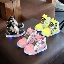 High top Light Up Shoes Flashing LED Trainers Sneakers For Baby Kids Boys Girls