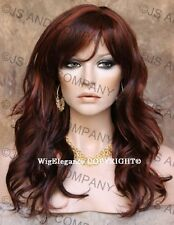 Glamorous Long Natural Wavy Wig Red Auburn Mix Full Bangs JSPP 33-130