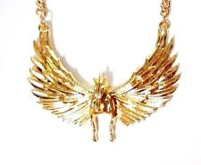 SHINY GOLD PEGASUS NECKLACE winged horse feather wings chain pendant bib C4