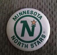 VINTAGE 1970s NHL MINNESOTA NORTH STARS HOCKEY 3 1/2 INCH PIN / BUTTON.