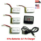 4PCS Syma X5SW X5C X5C-1 650mAh 3.7V Lipo Battery with 4 in 1 Charger For Drone