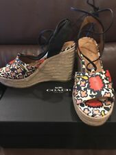 "NEW$225 COACH Dana Floral Slky  Chalk Coral Wedge Womens Shoes 5"" Heels Sz 8 8M"
