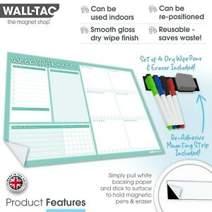 Sticky Menu Meal Planner, Dry Wipe Wall Planner Self Adhesive Weekly Daily Erase