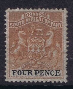 "RHODESIA 4d SG22 UNUSED NO GUM VARIETY BROKEN FIRST ""E"" IN ""PENCE"""