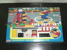 1985 VINTAGE ATCO FIRE DEPT SET TOY BUILDING BLOCKS BRICKS BABY BIG 29 PCS MIB