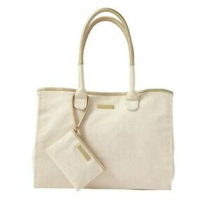 RALPH LAUREN FRAGRANCE LARGE CANVAS & GOLD TOTE WITH COIN PURSE