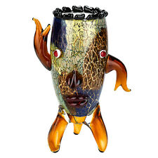 """Murano Style Art Glass 13"""" Vase with a Face!"""
