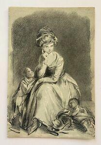 18th C Chalk Study of Woman Children Cat Circle of Thomas Gainsborough Drawing