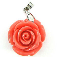 24mm synthetic coral carved rose flower pendant with silver plated bail pink