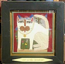 CHRIS ROBERTS-ANTINEAU Original Textile Fabric Applique Art - CAT IN THE WINDOW