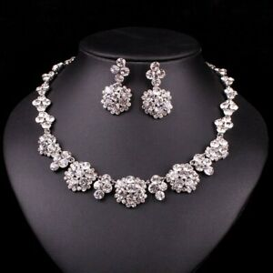 White COLOR Swarovski Elements Jewelry Set  Necklace/Earrings party wedding 3