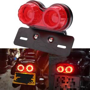 Motorcycle LED Dual Tail Light Turn Signal Brake License Plate Lights Universal