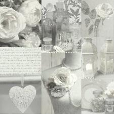 Vintage Rose Encaje Charlotte Shabby Chic Wallpaper Gris Entrega gratuita