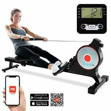 SereneLife SLRWMC10 Magnetic Rowing Machine with Bluetooth App Fitness Tracking