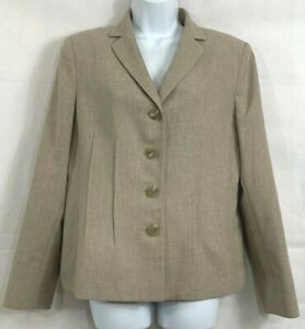 Collections by Le Suit Size 10 Tan Tweed 4 Button Blazer Jacket Stitched Pleats
